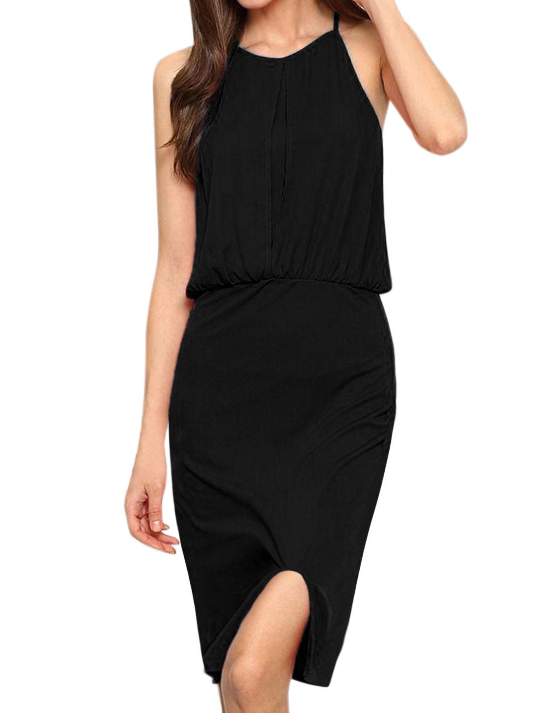 Women Inverted-Pleat Slit Front Elastic Waist Blouson Dress Black M