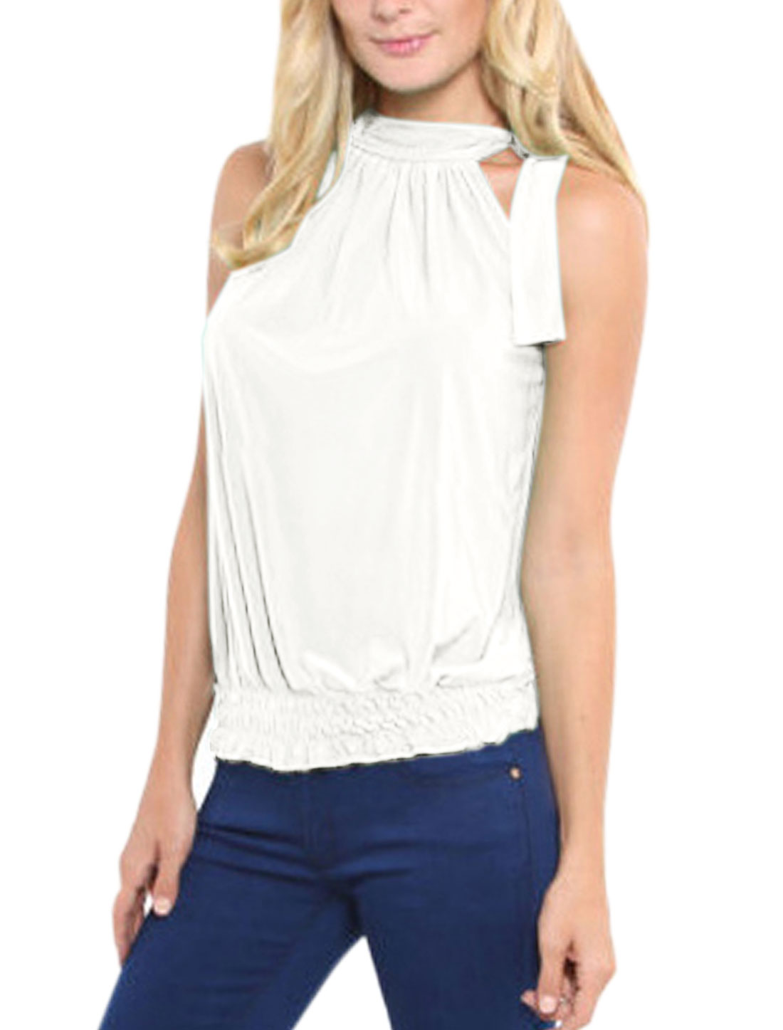Women Self Tie Neckline Sleeveless Elastic Hem Top White S