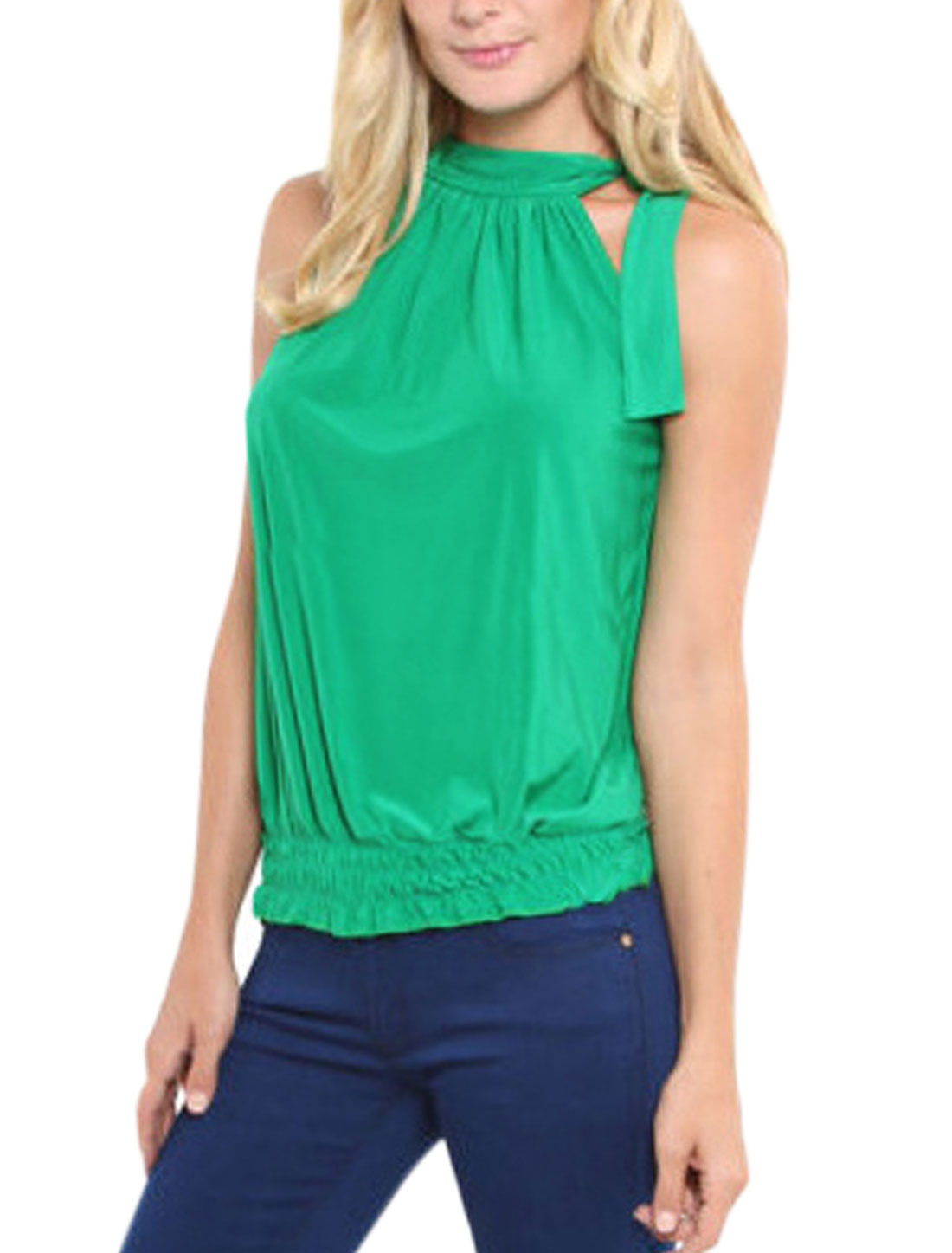 Women Self Tie Neckline Sleeveless Elastic Hem Top Green S