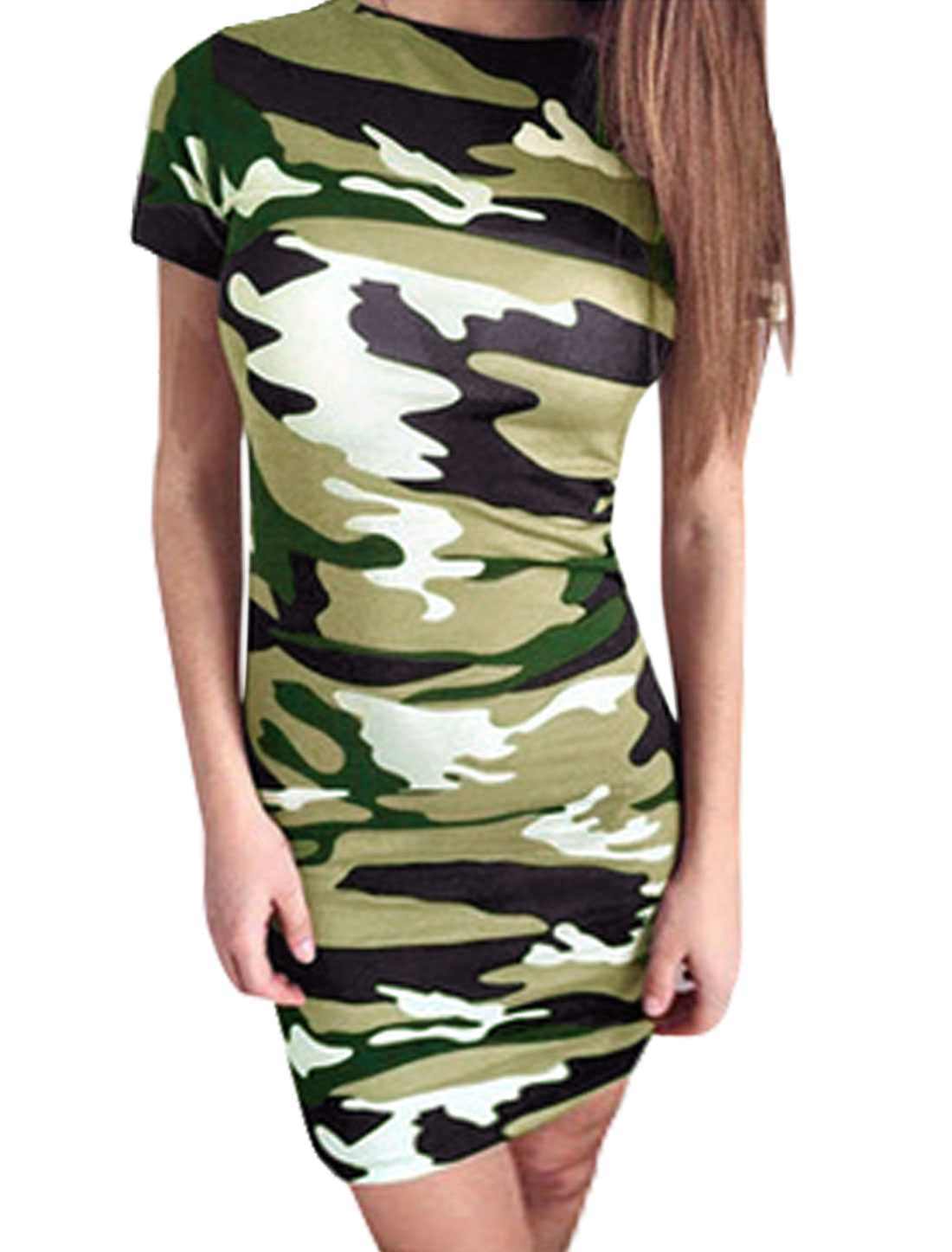 Women Camouflage Pattern Short Sleeve Sheath Dress Multi-Color M