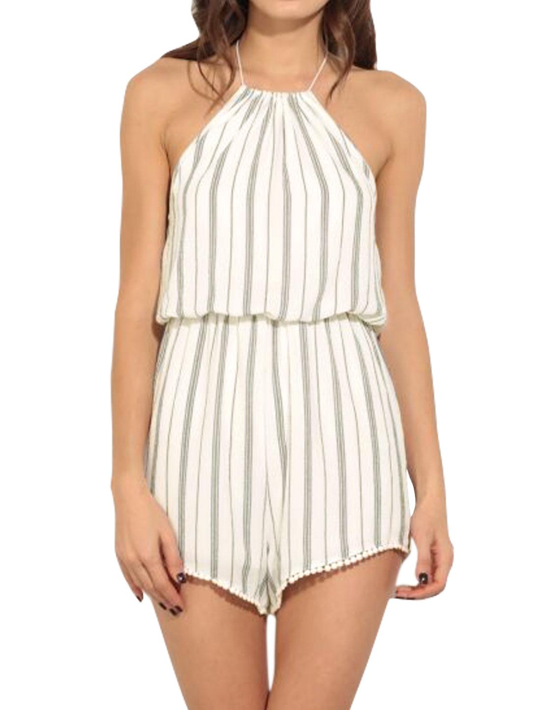Women Tassel Halter Neck Stripes Elastic Waist Backless Romper White XS