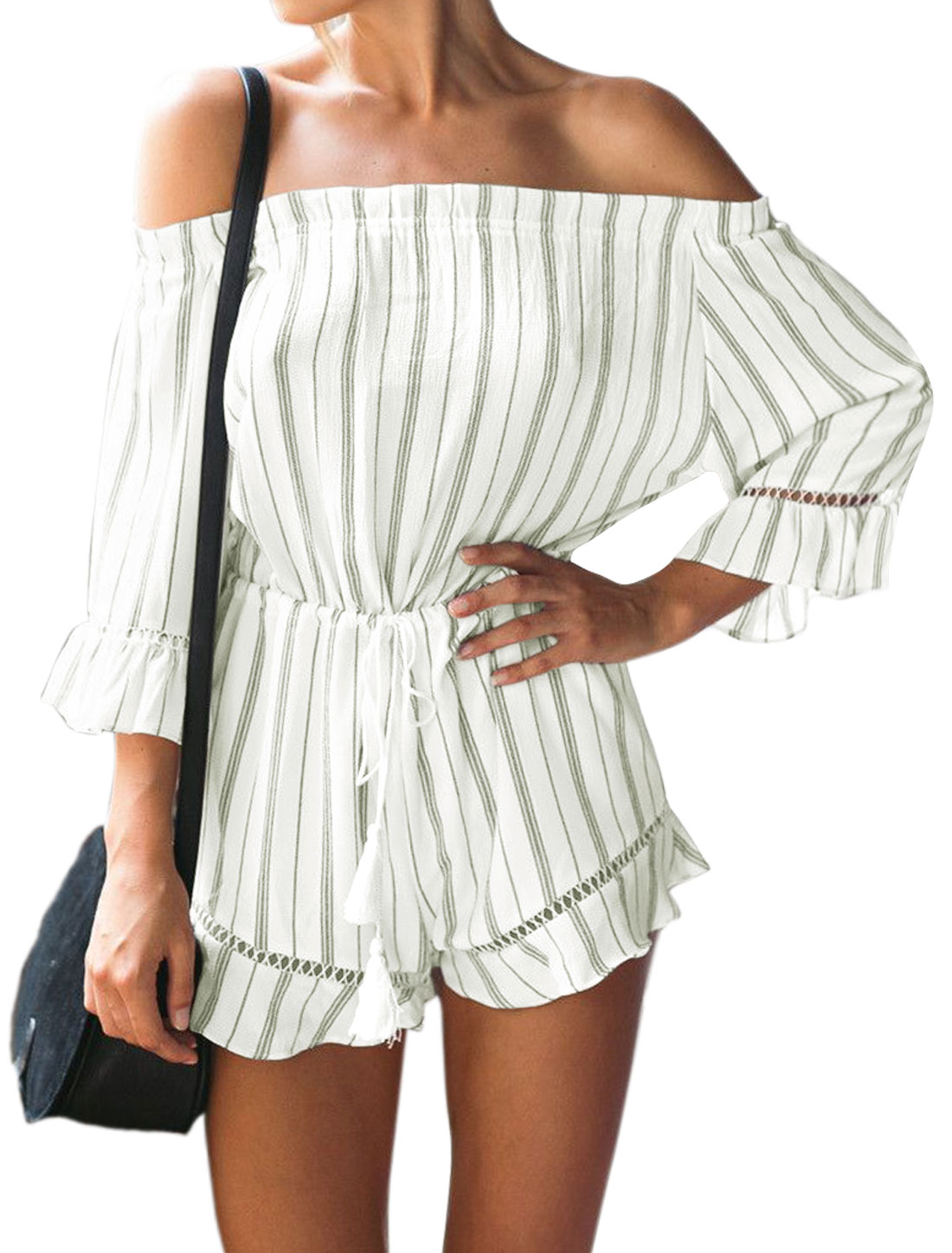 Women Stripes Off Shoulder Drawstring Tassel Waist Romper White S