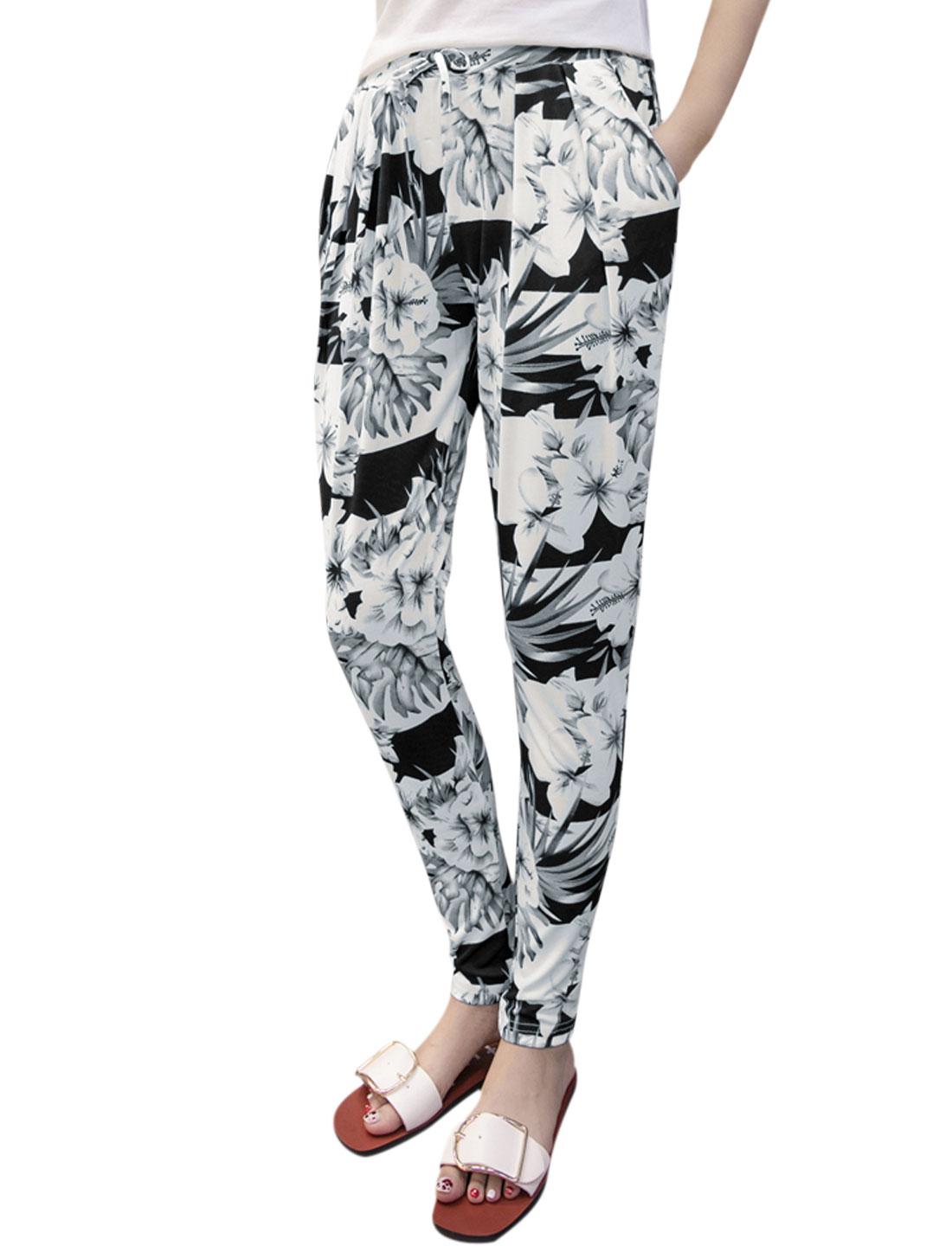 Women Drawstring Elastic Waist Tapered Flower Print Pants White S