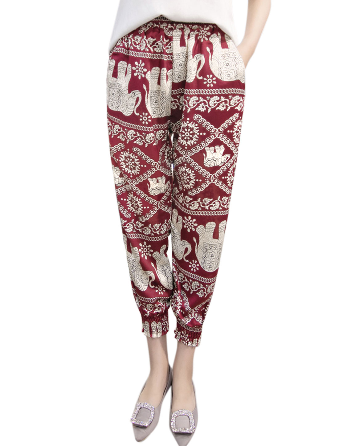 Women Floral Elephant Prints Smocked Cuffs Cropped Pants Red M