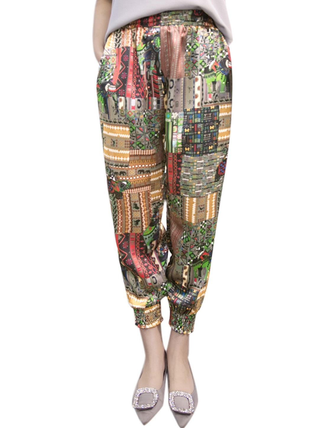 Women Geometric Prints Smocked Cuffs Cropped Pants Multi-Color M