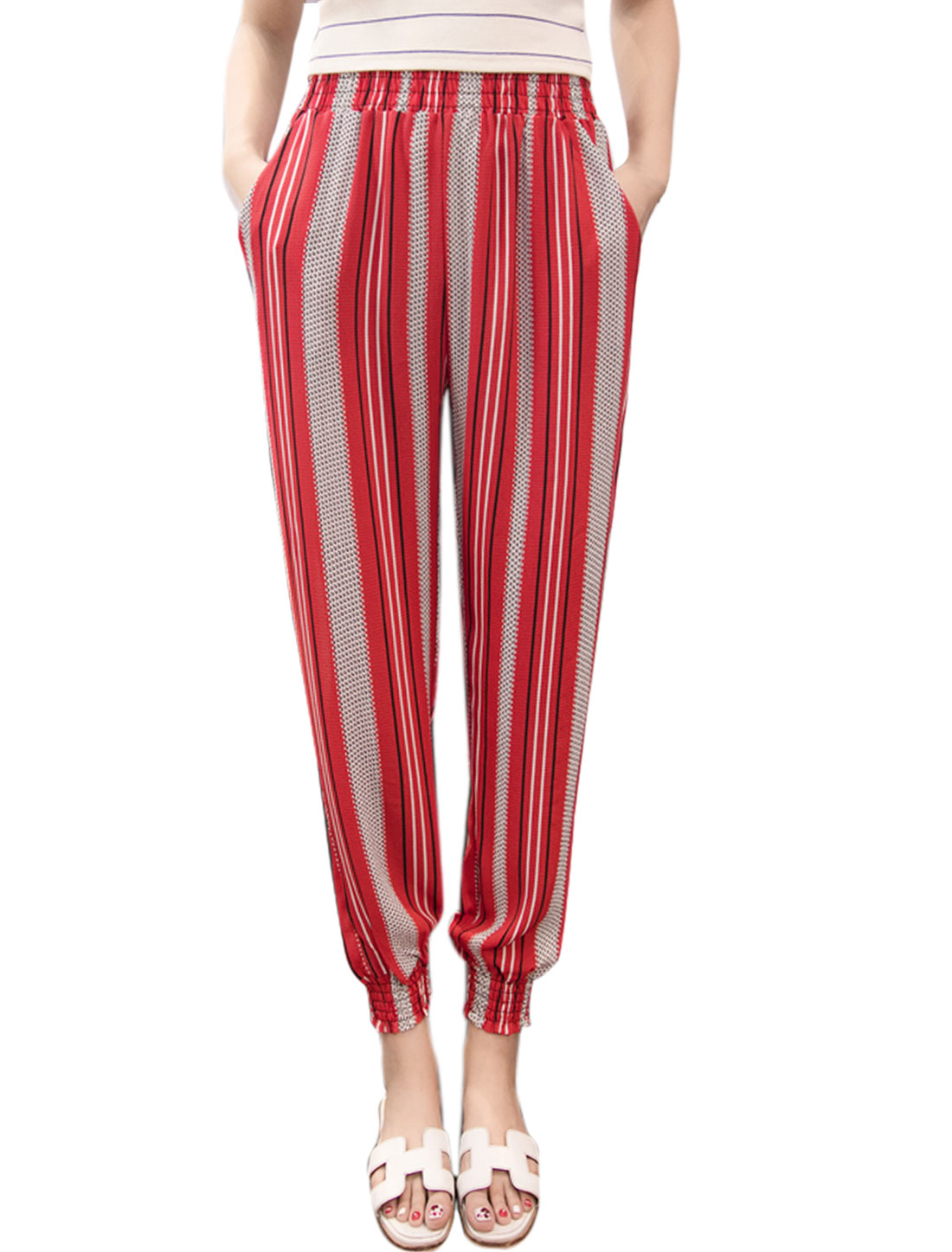 Women Elastic Waist Stripes Tapered Cropped Pants Red M