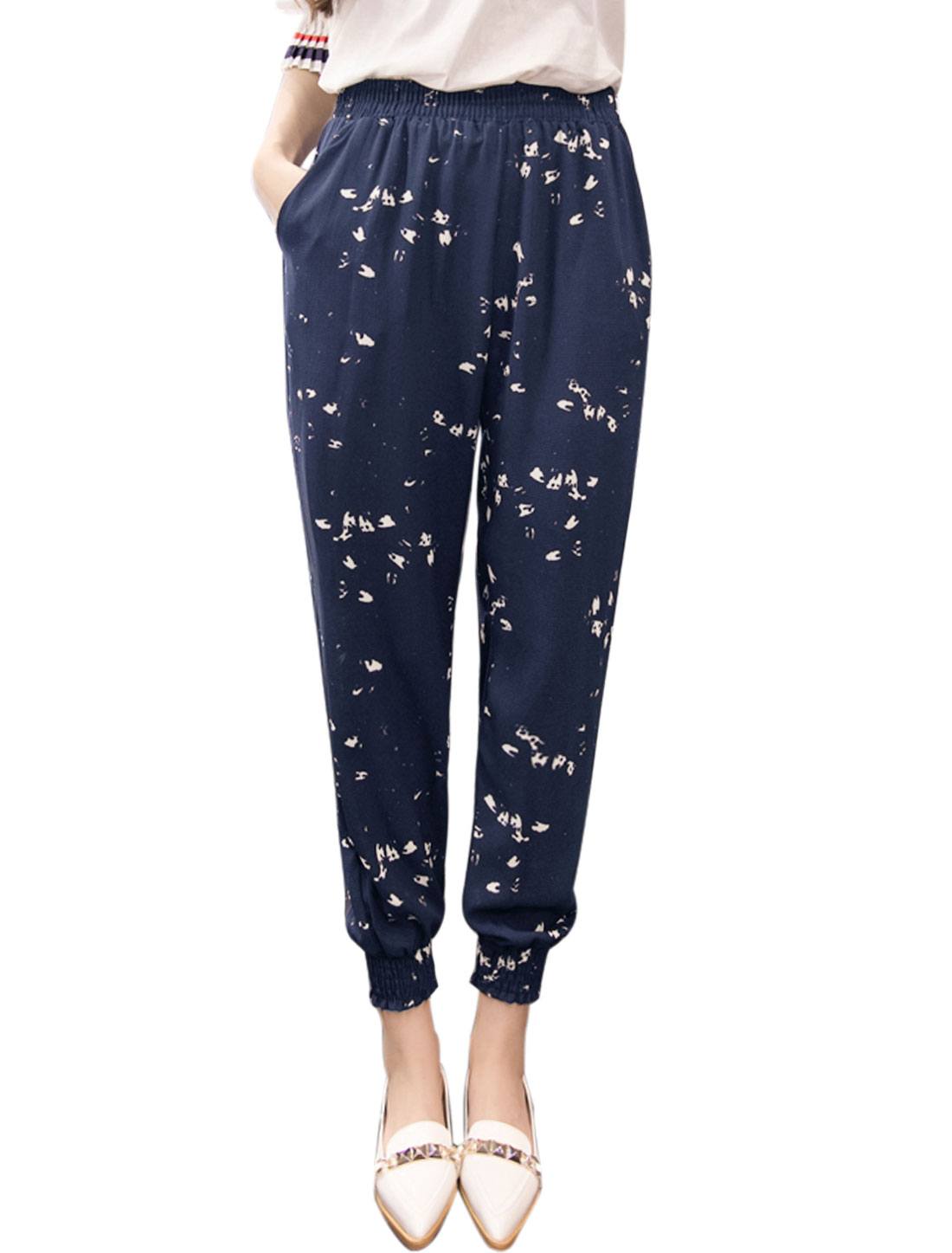 Women Elastic Waist Spotted Tapered Cropped Pants Blue M