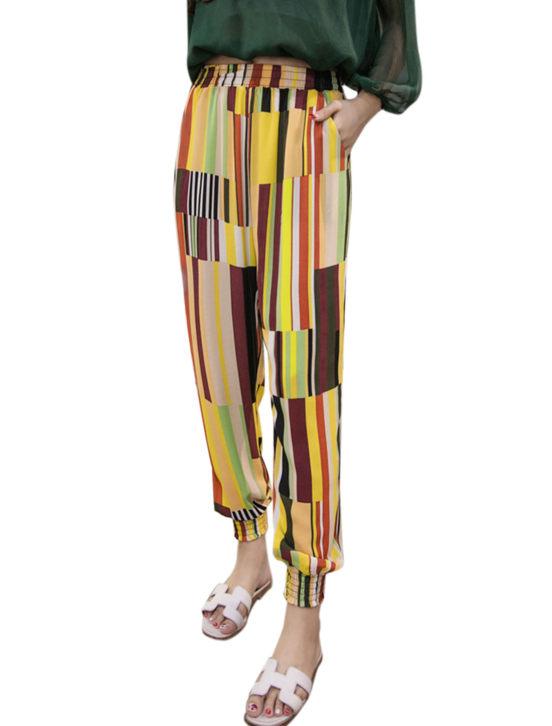 Women Elastic Waist Plaids Tapered Cropped Pants Yellow M