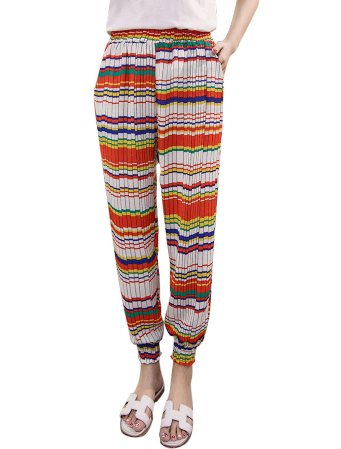 Women Pleated Horizontal Stripes Prints Tapered Cropped Pants Orange M