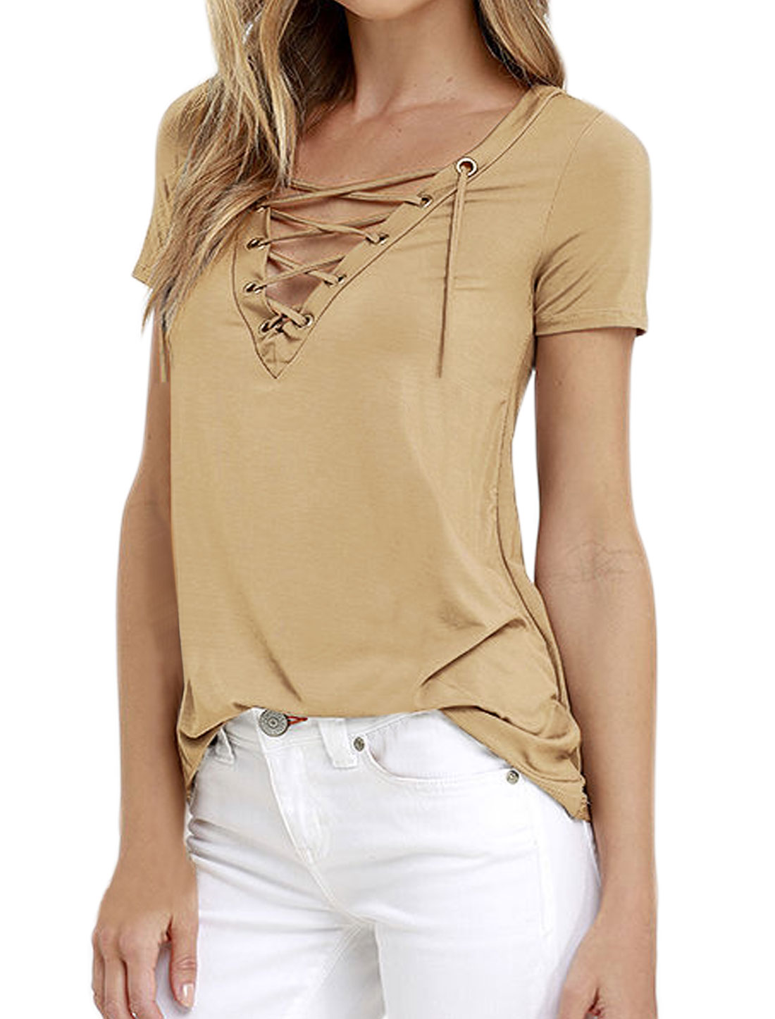 Women Eyelet Design Lace Up Front V Neck Stretchy Tee Shirt Beige M