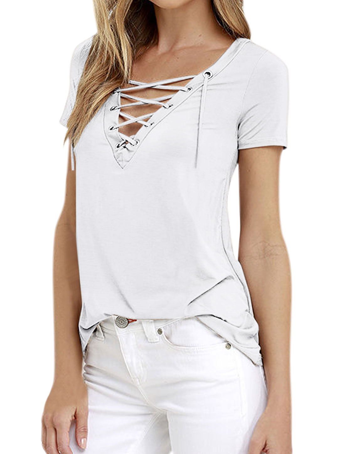 Women Eyelet Design Lace Up Front V Neck Stretchy Tee Shirt White M