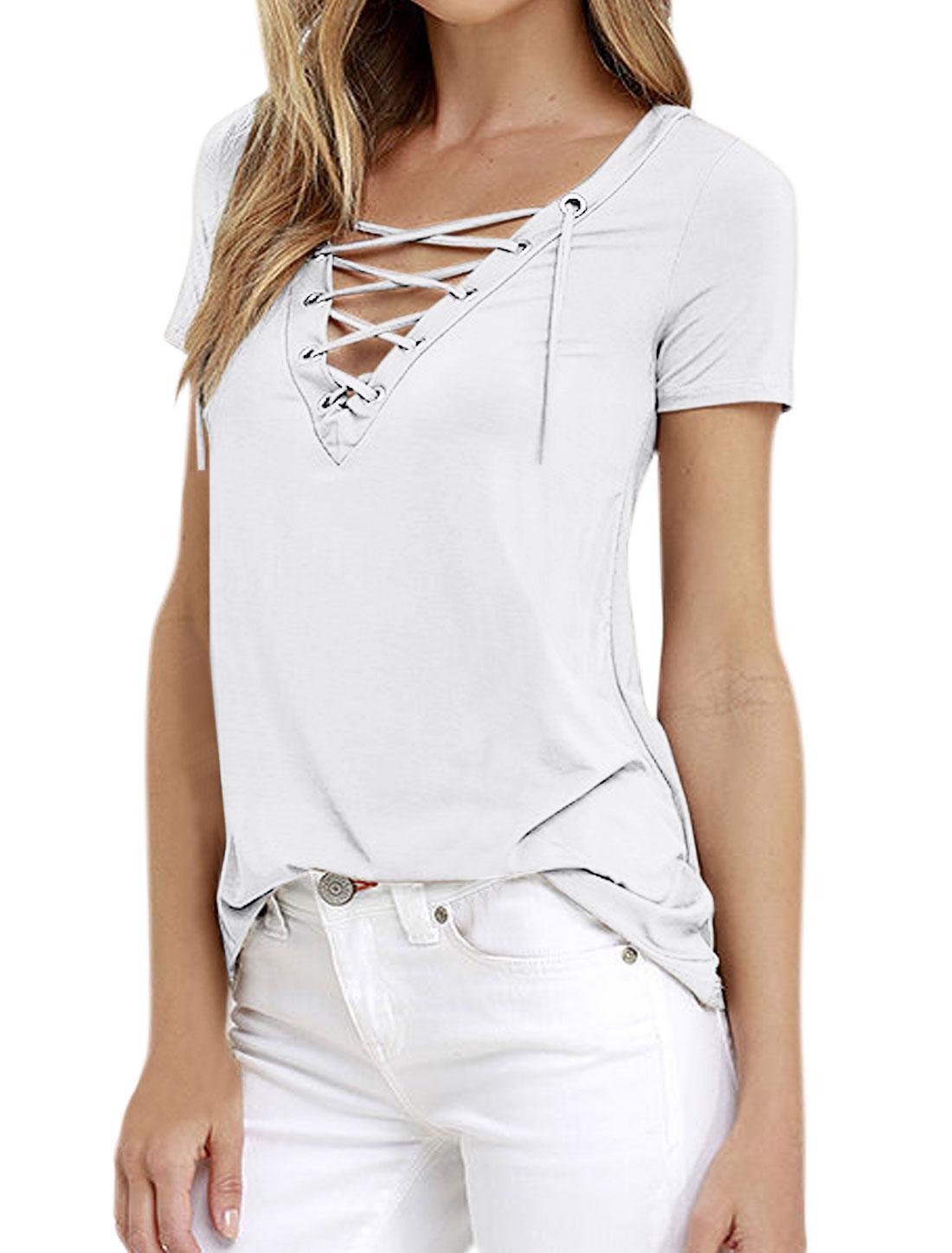 Women Eyelet Design Lace Up Front V Neck Stretchy Tee Shirt White M