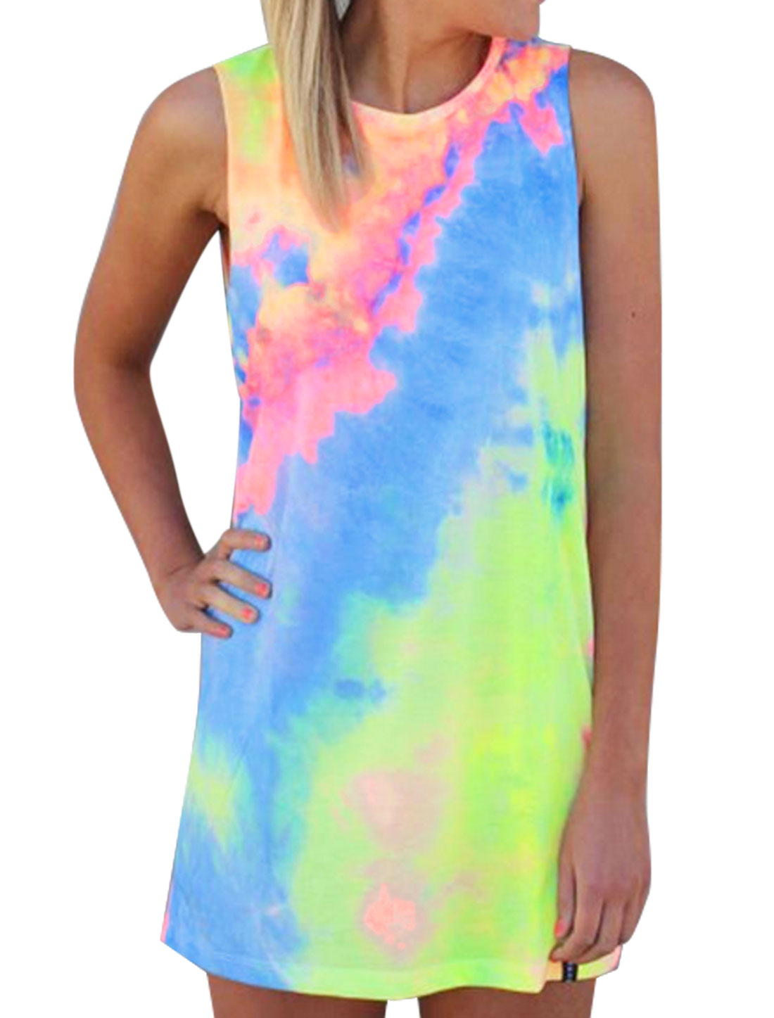 Women Tie Dye Contrast Color Sleeveless Tunic Dress Multi-Color S