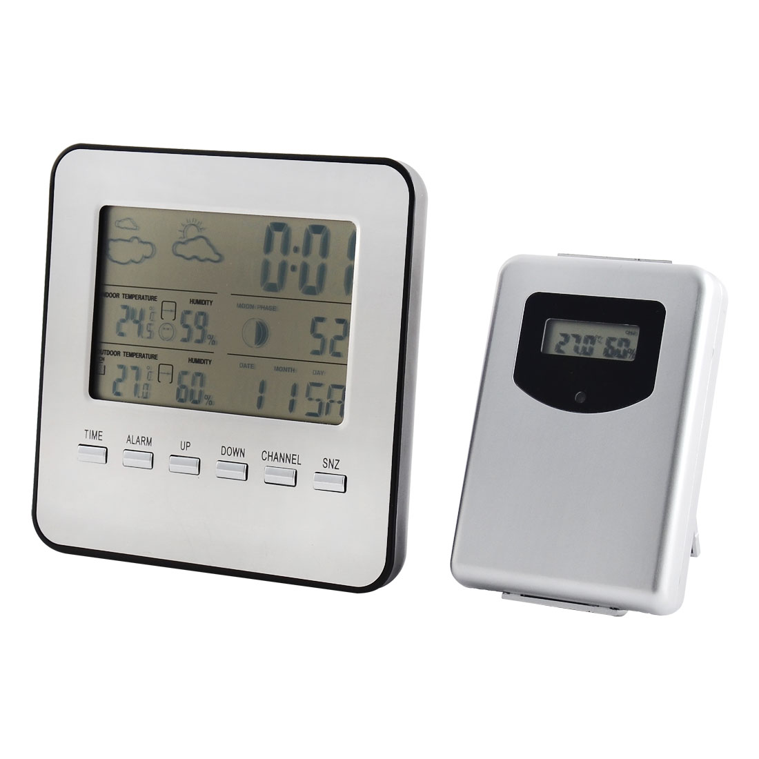 Indoor Outdoor Wireless Weather Station Alarm Clock Thermometer Hygrometer