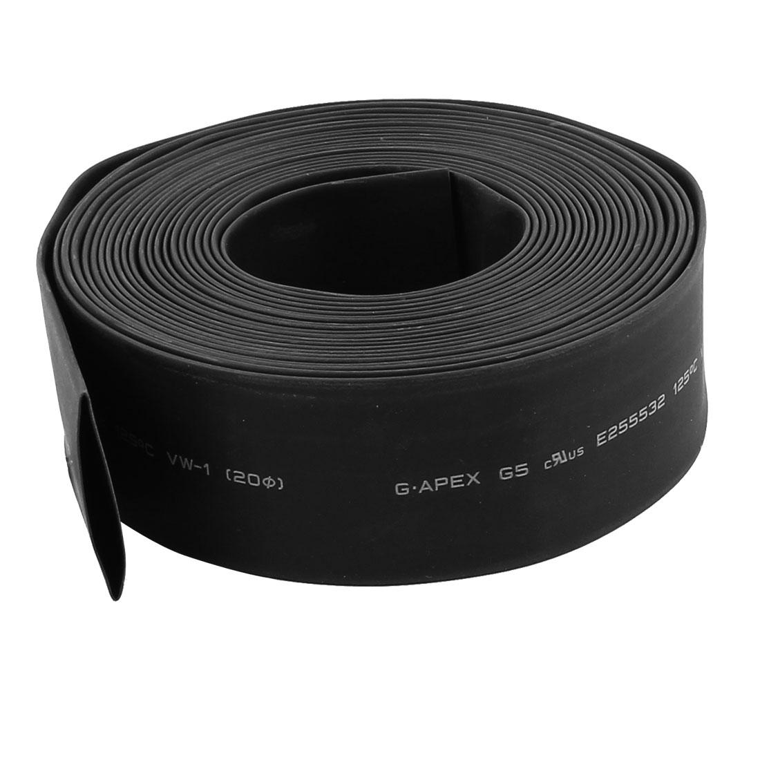 "5m x 0.78"" Diameter 2:1 Shrinkage Ratio PE Insulated Heat Shrink Tubing Black"