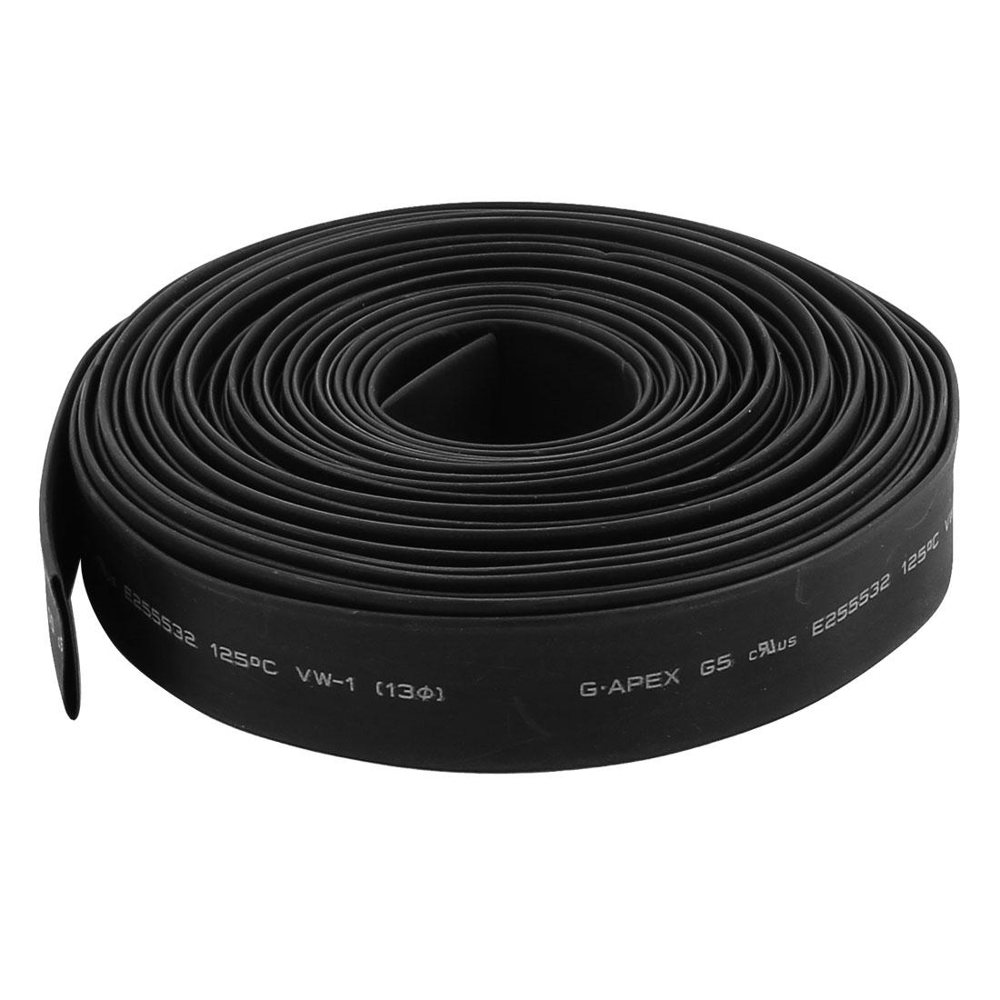 32.8ft x 13mm Diameter 2:1 Shrinkage Ratio PE Insulated Heat Shrink Tubing Black