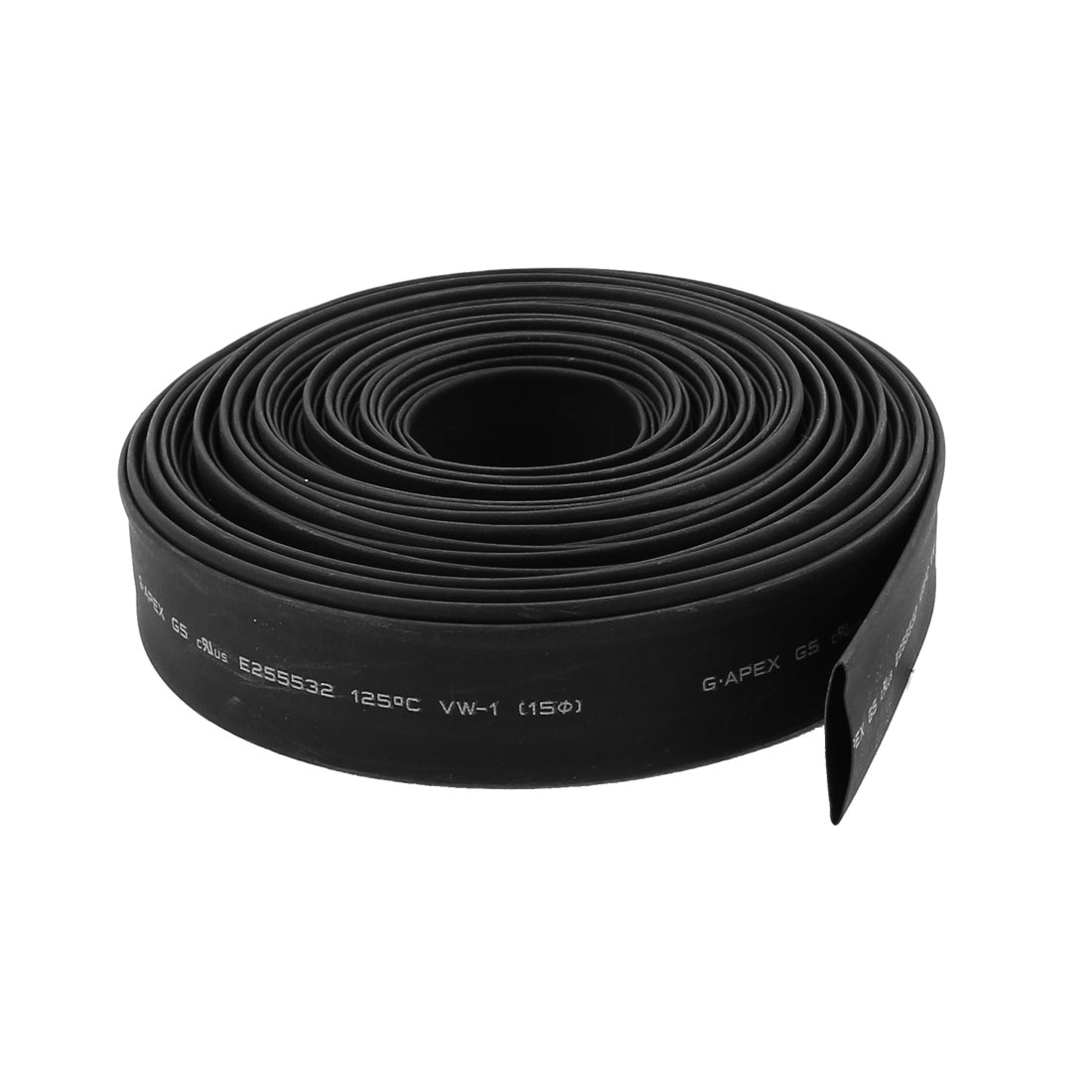 "10m x 0.59"" Diameter 2:1 Shrinkage Ratio PE Insulated Heat Shrink Tubing Black23"