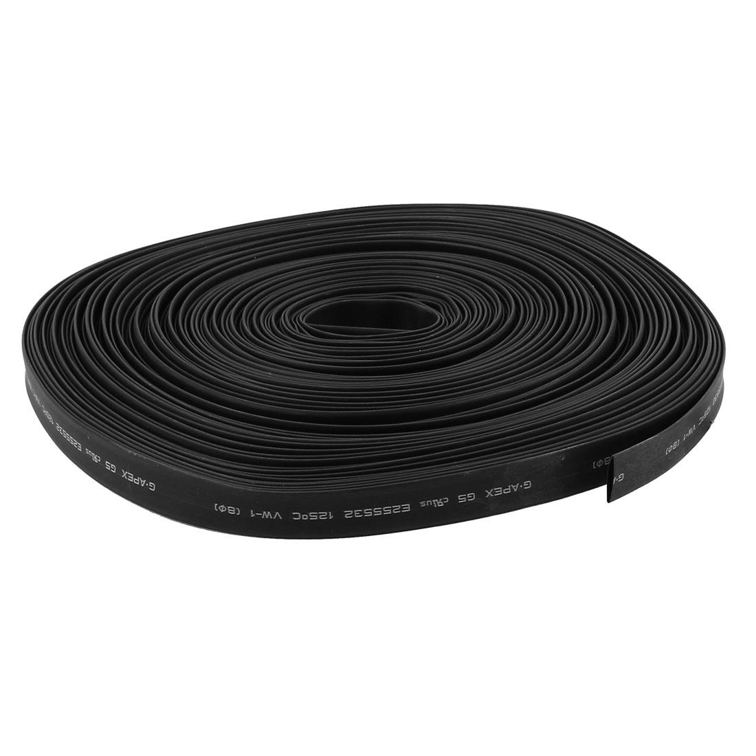 30m 8mm Dia Insulated PE Heat Shrink Tubing 2:1 Shrinkage Ratio Waterproof Black