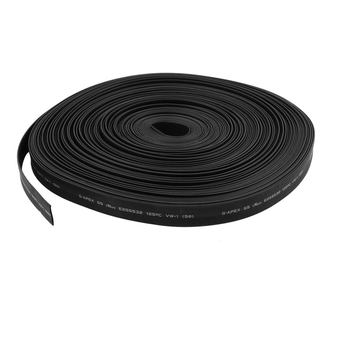 30m 9mm Dia Insulated PE Heat Shrink Tubing 2:1 Shrinkage Ratio Waterproof Black