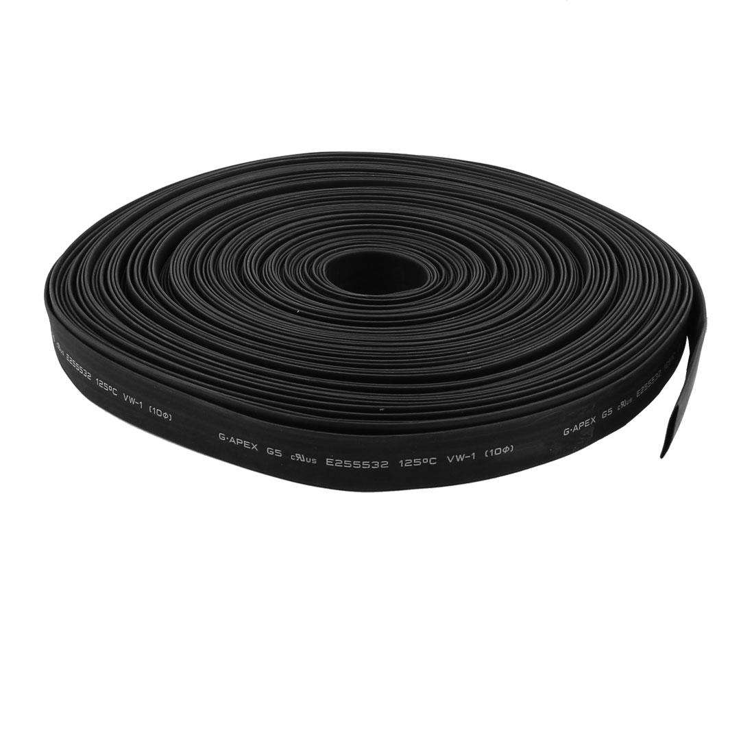 30m 10mm Dia Insulated Heat Shrink Tubing 2:1 Shrinkage Ratio Waterproof Black