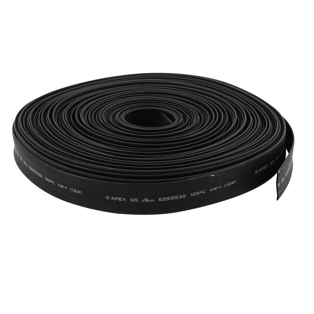 30m 12mm Dia Insulated PE Heat Shrink Tube 2:1 Shrinkage Ratio Waterproof Black