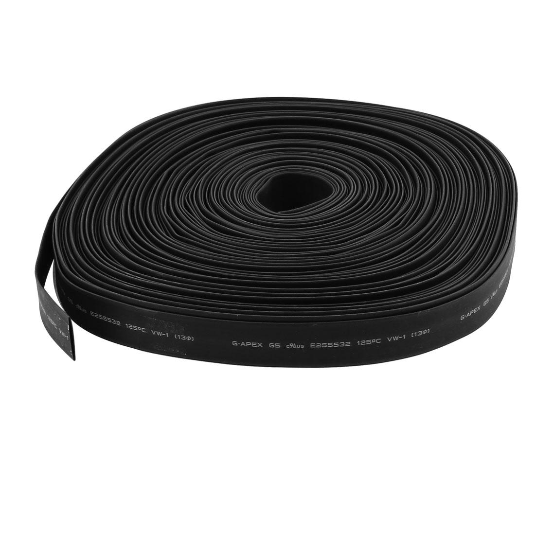 30m 13mm Dia Insulated PE Heat Shrink Tube 2:1 Shrinkage Ratio Waterproof Black