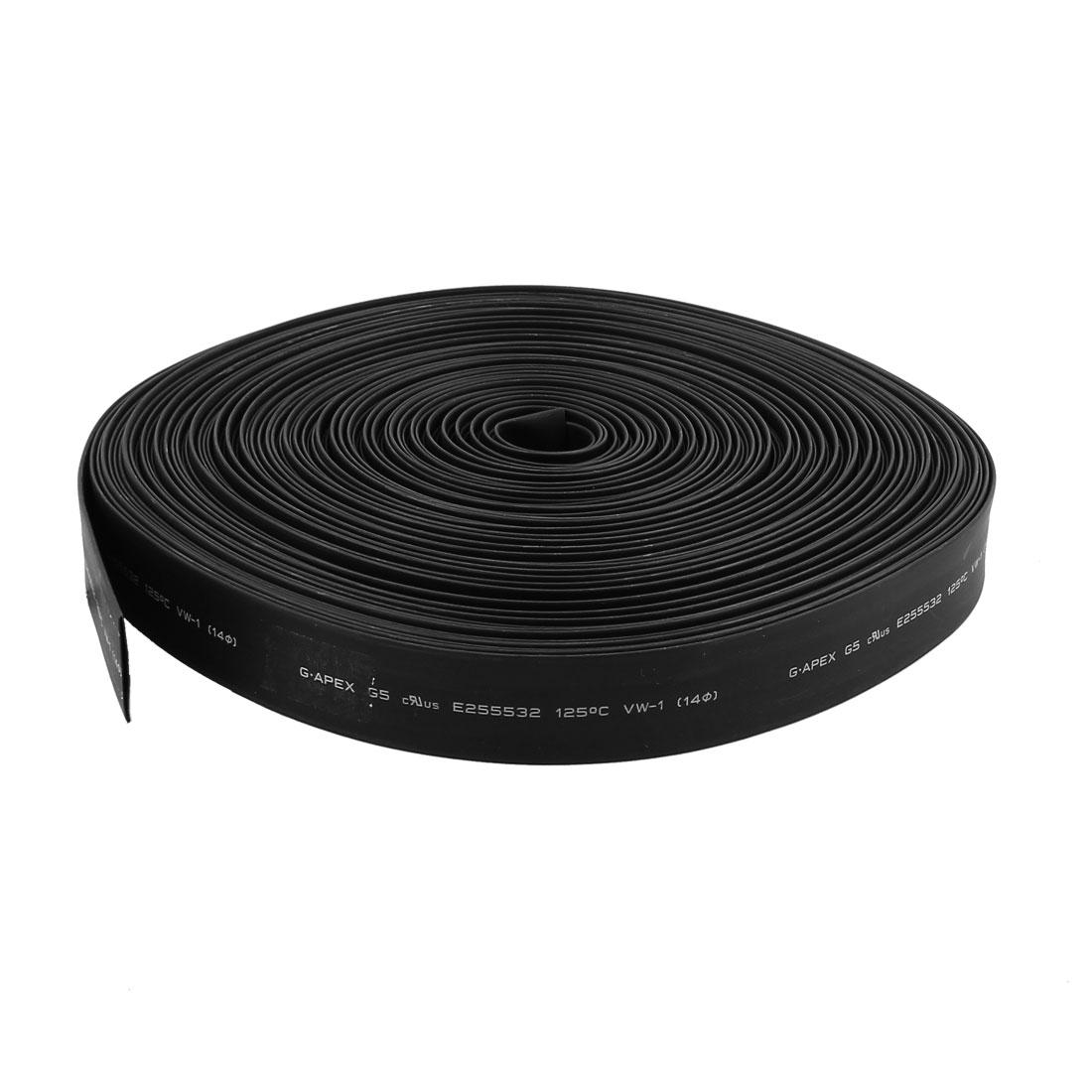 30m 14mm Dia Insulated Heat Shrink Tubing 2:1 Shrinkage Ratio Waterproof Black
