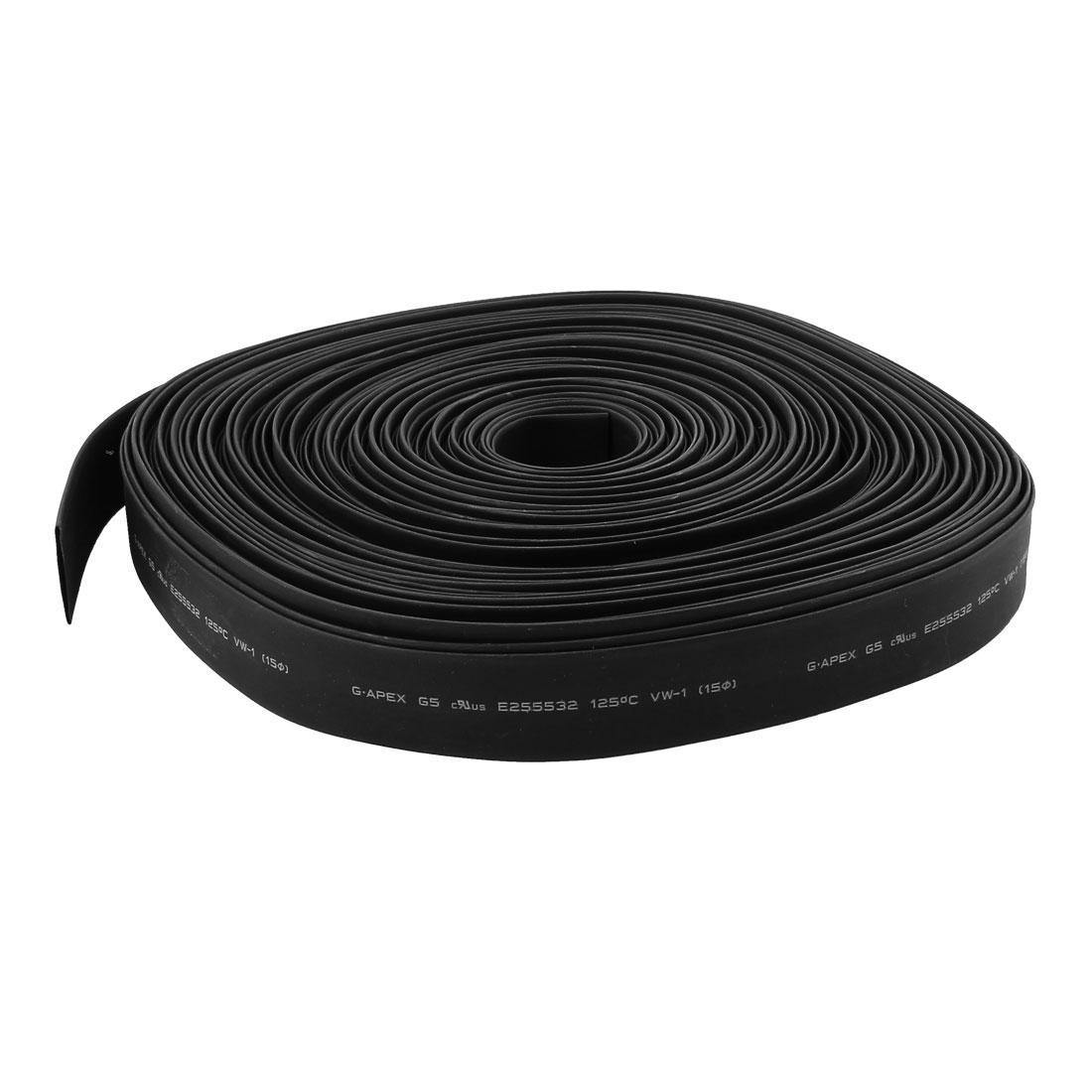 30m 15mm Dia Insulated PE Heat Shrink Tube 2:1 Shrinkage Ratio Waterproof Black