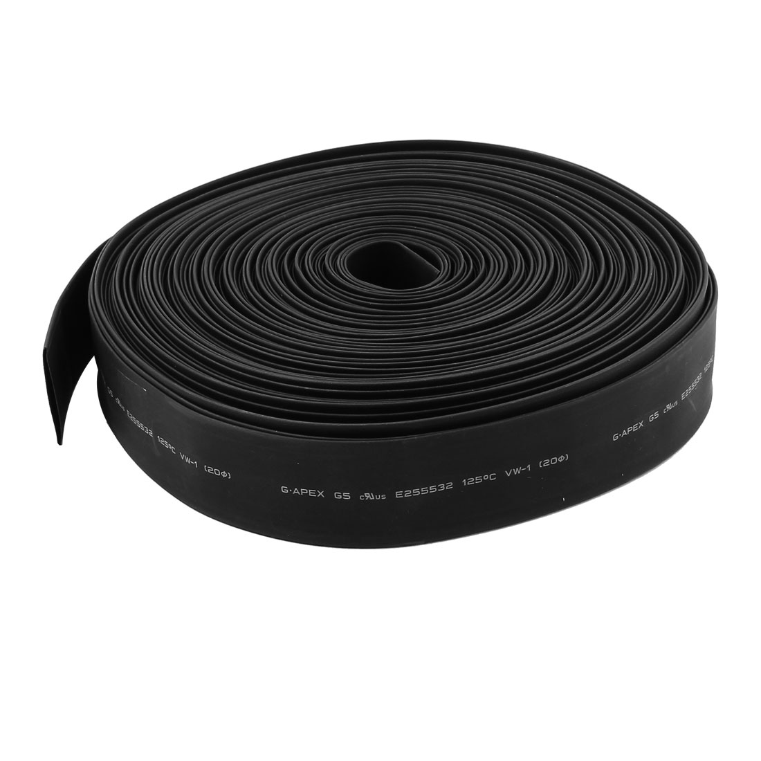 30m 20mm Dia Insulated PE Heat Shrink Tube 2:1 Shrinkage Ratio Waterproof Black