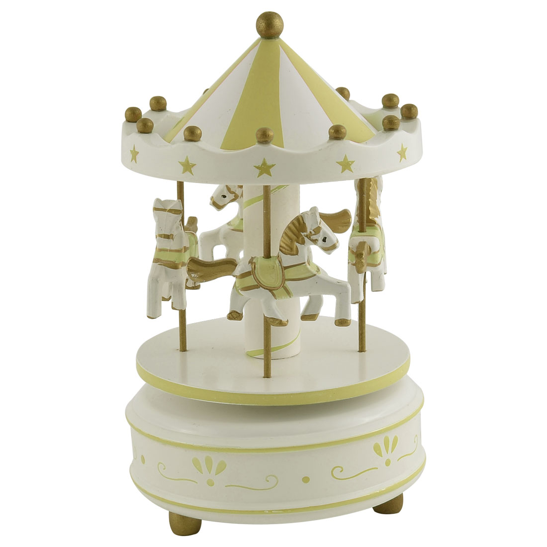 Plastic Shell 4 Wooden Horses Merry-Go-Round Carousel Music Box Gold Tone
