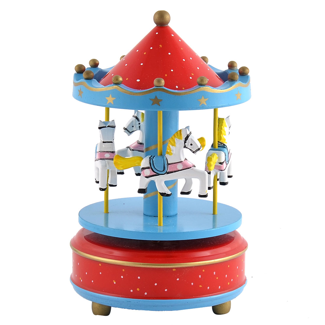 Plastic Shell Dots Pattern Merry-Go-Round Carousel Music Box Red Blue