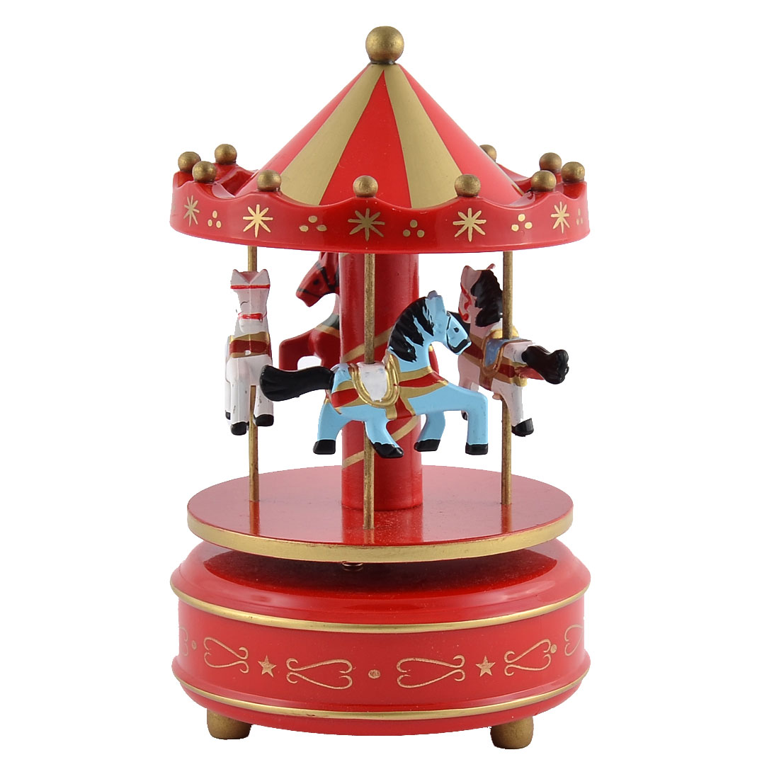 Plastic 4 Horses Merry-Go-Round Carousel Music Box Christmas Gift Red Gold Tone