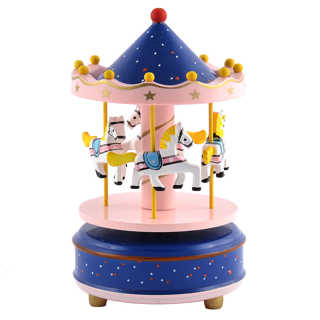 Plastic Shell Dots Pattern 4 Horses Merry-Go-Round Carousel Music Box Blue Pink