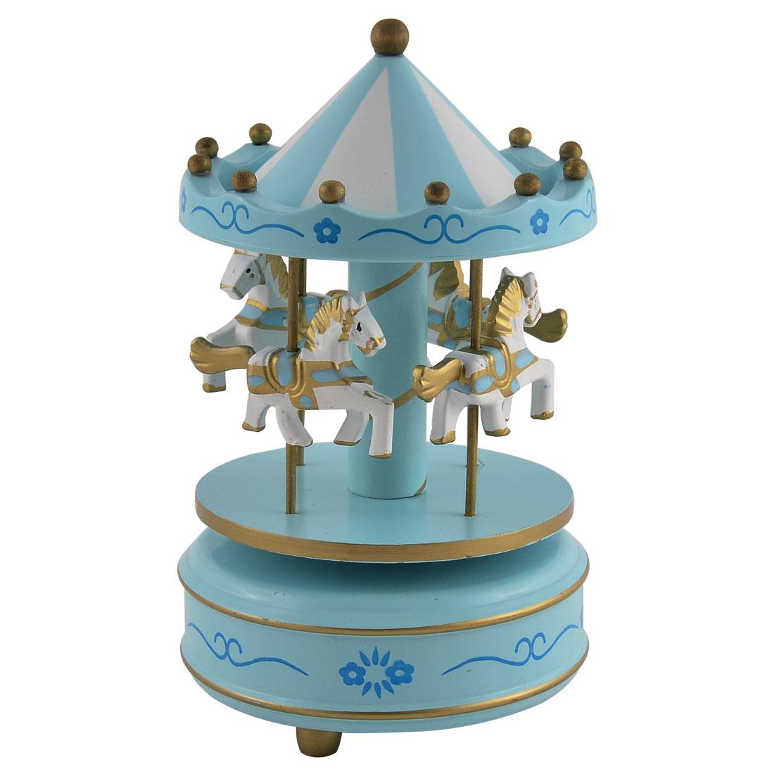 Plastic Shell Flower Pattern Merry-Go-Round Carousel Music Box Light Blue
