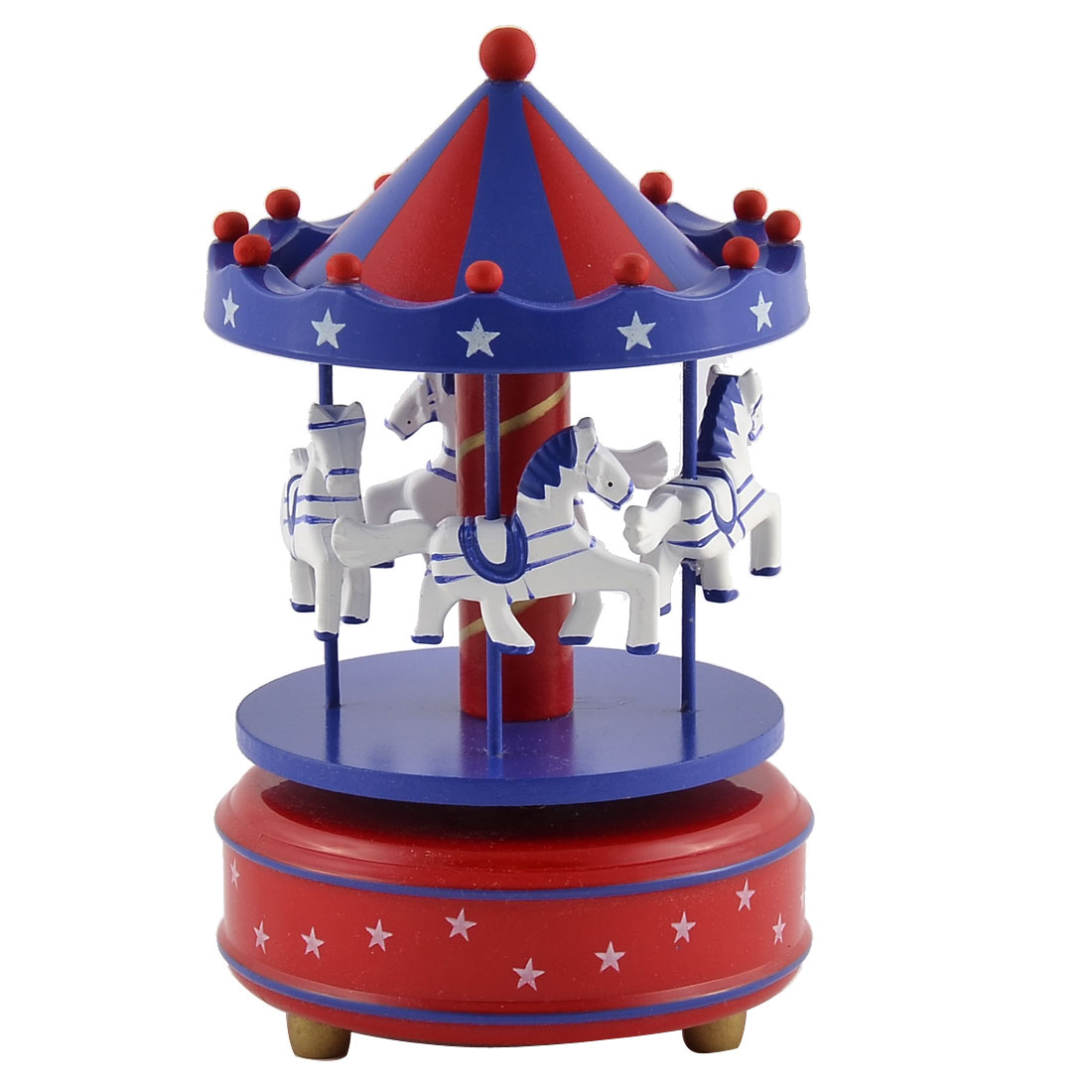 Plastic Star Pattern Merry-Go-Round Carousel Music Box Indigo Blue Red