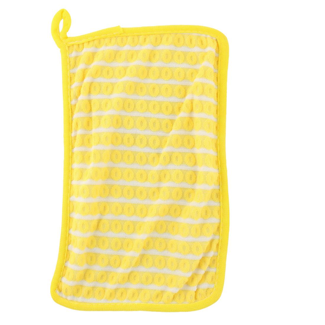 Home Kitchenware Rectangle Design Bowl Pot Dish Scrub Wiping Cleaning Cloth Yellow