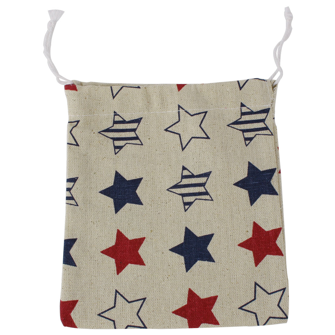 Home Travel Cotton Linen Star Pattern Storage Packing Bag Drawstring Pouch Holder