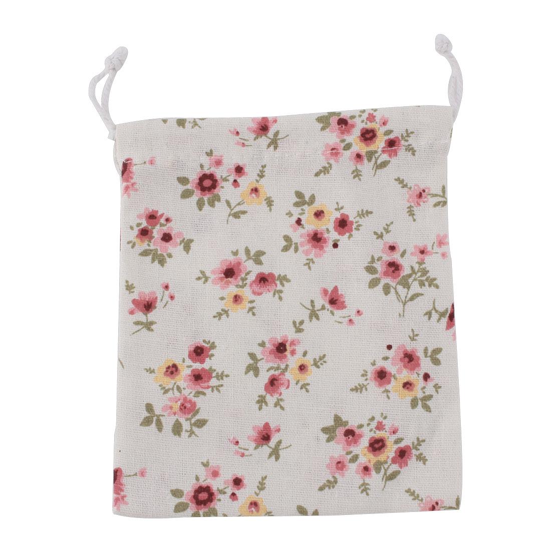 Home Travel Cotton Linen Flower Pattern Storage Packing Bag Drawstring Pouch Holder