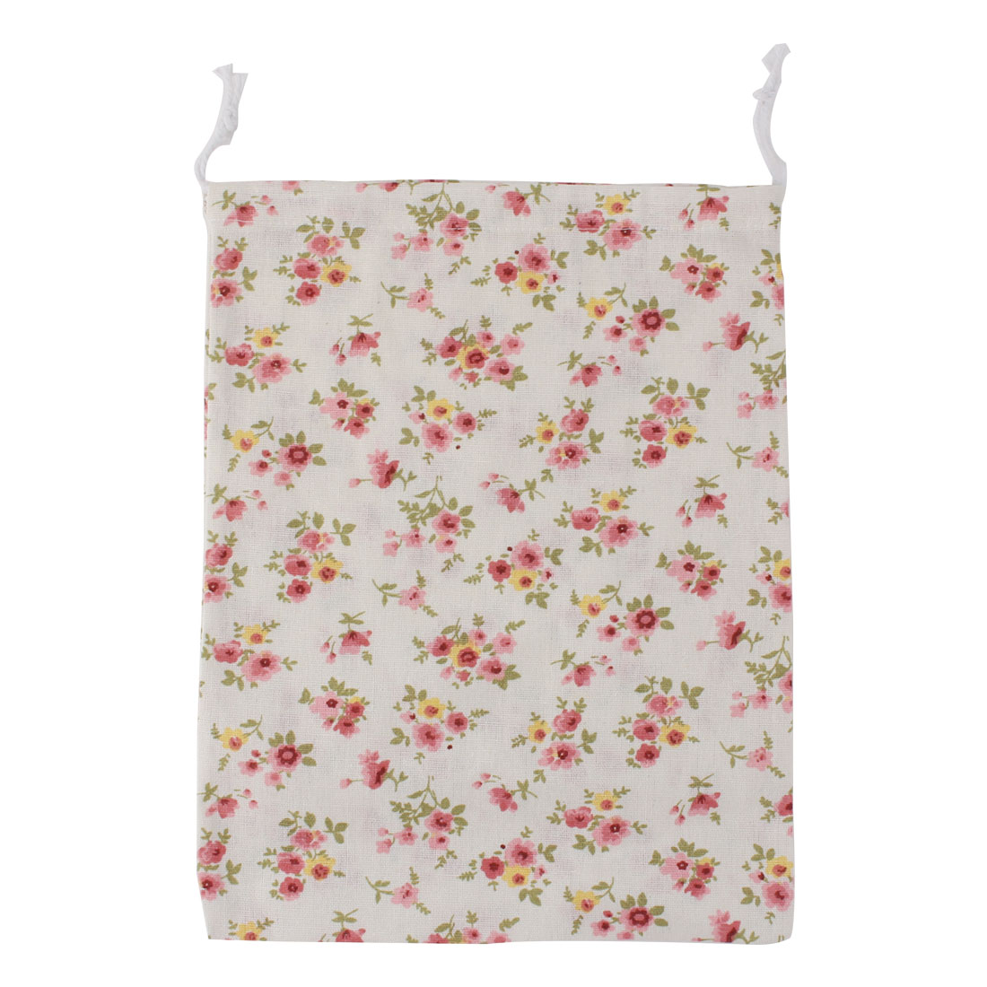 Household Travel Cotton Linen Flower Pattern Storage Packing Bag Drawstring Pouch Holder