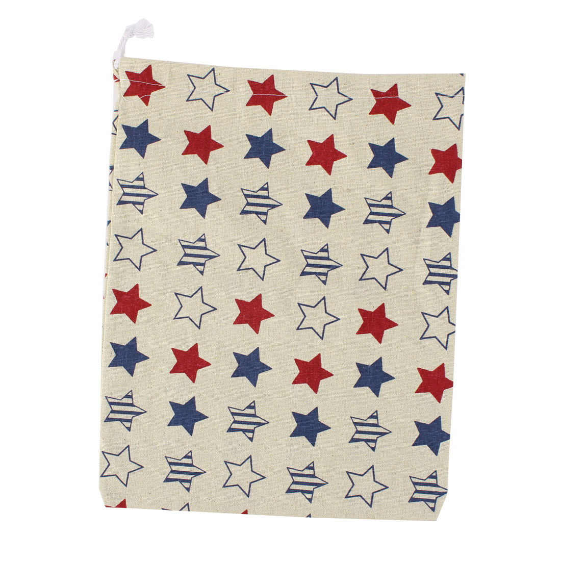 Household Travel Cotton Linen Star Pattern Storage Packing Bag Drawstring Pouch Holder