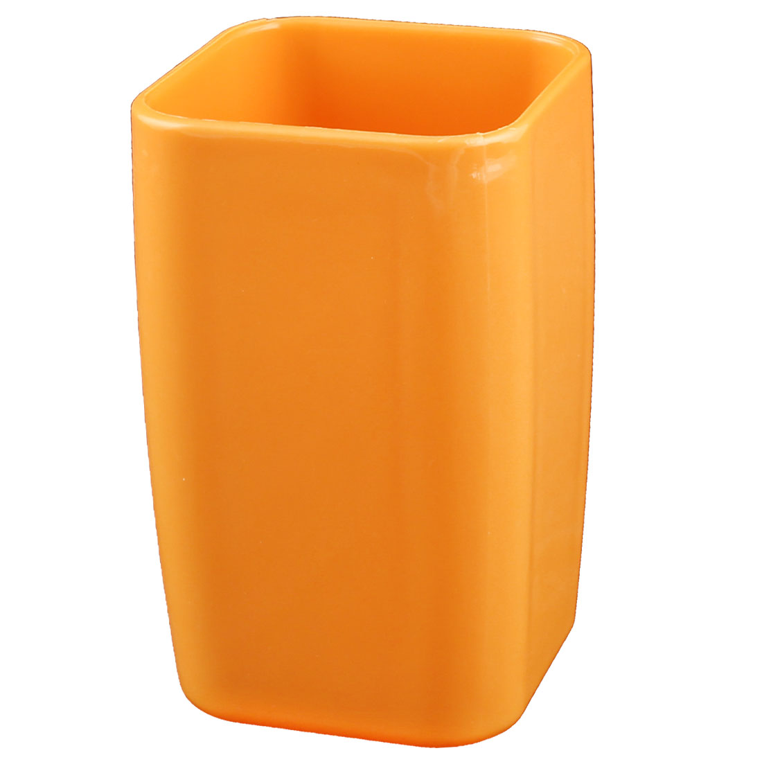 Home Bathroom Plastic Cuboid Shaped Toothbrush Toothpaste Gargle Cup Holder Orange 290ml
