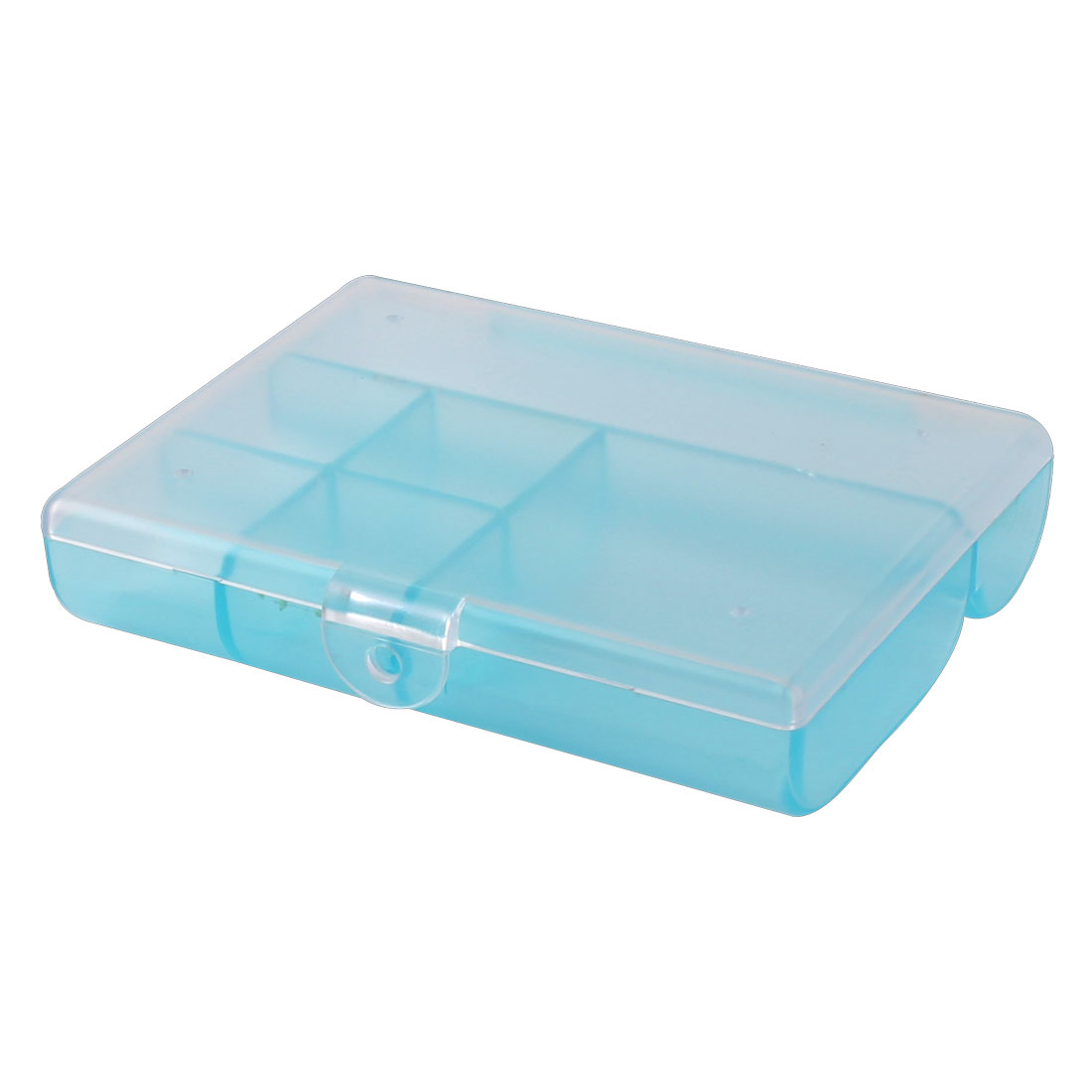 Home Plastic 6 Compartments Small Accessories Jewelry Box Organizer Holder Clear Blue
