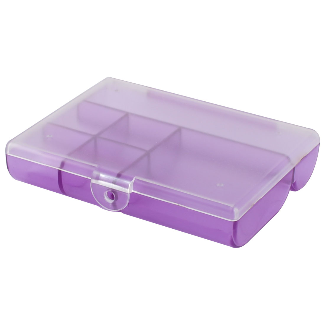 Home Plastic 6 Compartments Small Accessories Jewelry Box Organizer Holder Clear Purple