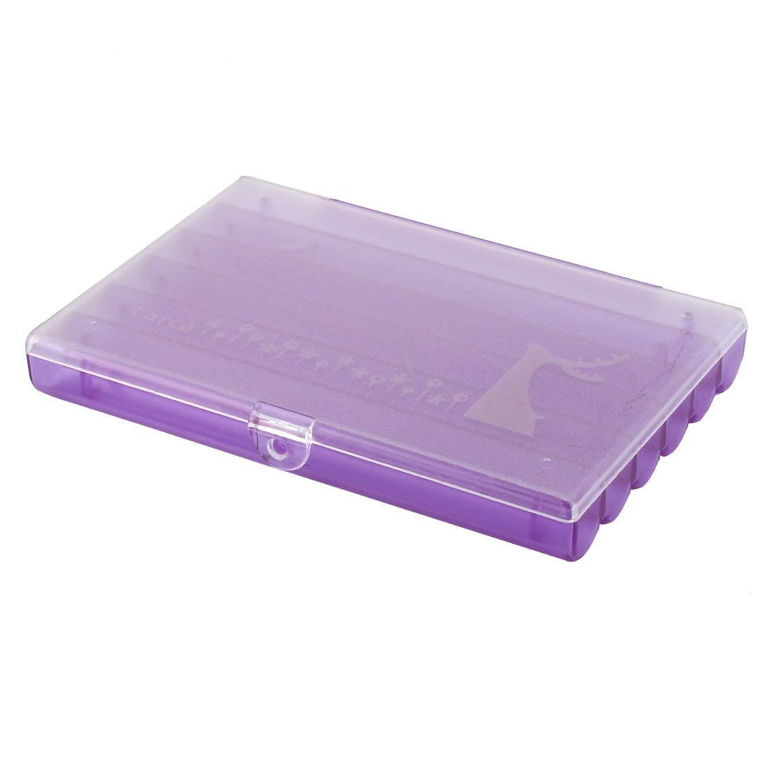 Home Plastic 6 Compartments Medicine Jewelry Box Organizer Holder Clear Purple
