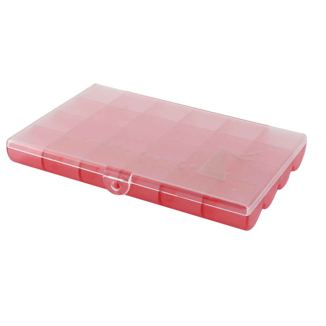 Home Plastic 24 Compartments Medicine Jewelry Box Organizer Holder Clear Red