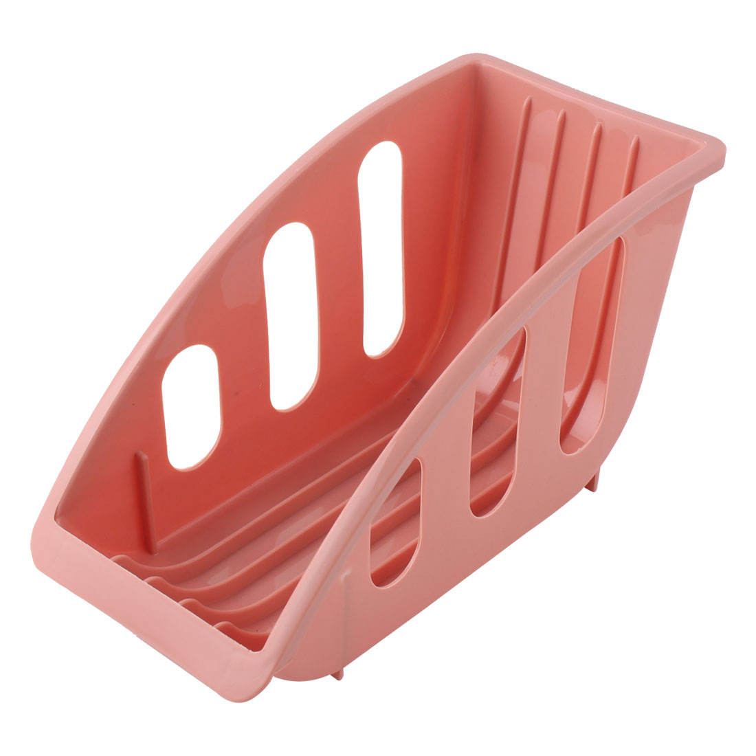 Household Kitchenware Plastic Dish Bowl Storage Drying Drainer Rack Holder Coral Pink