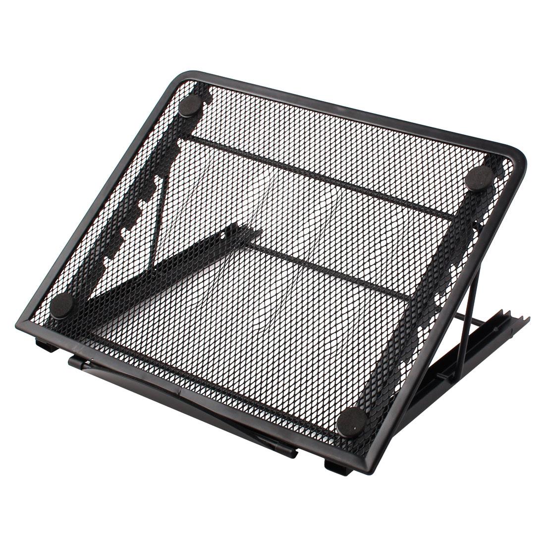 Tablet PC Laptop Desk Metal 6 Slots Adjustable Foldable Stand Bracket Holder Black