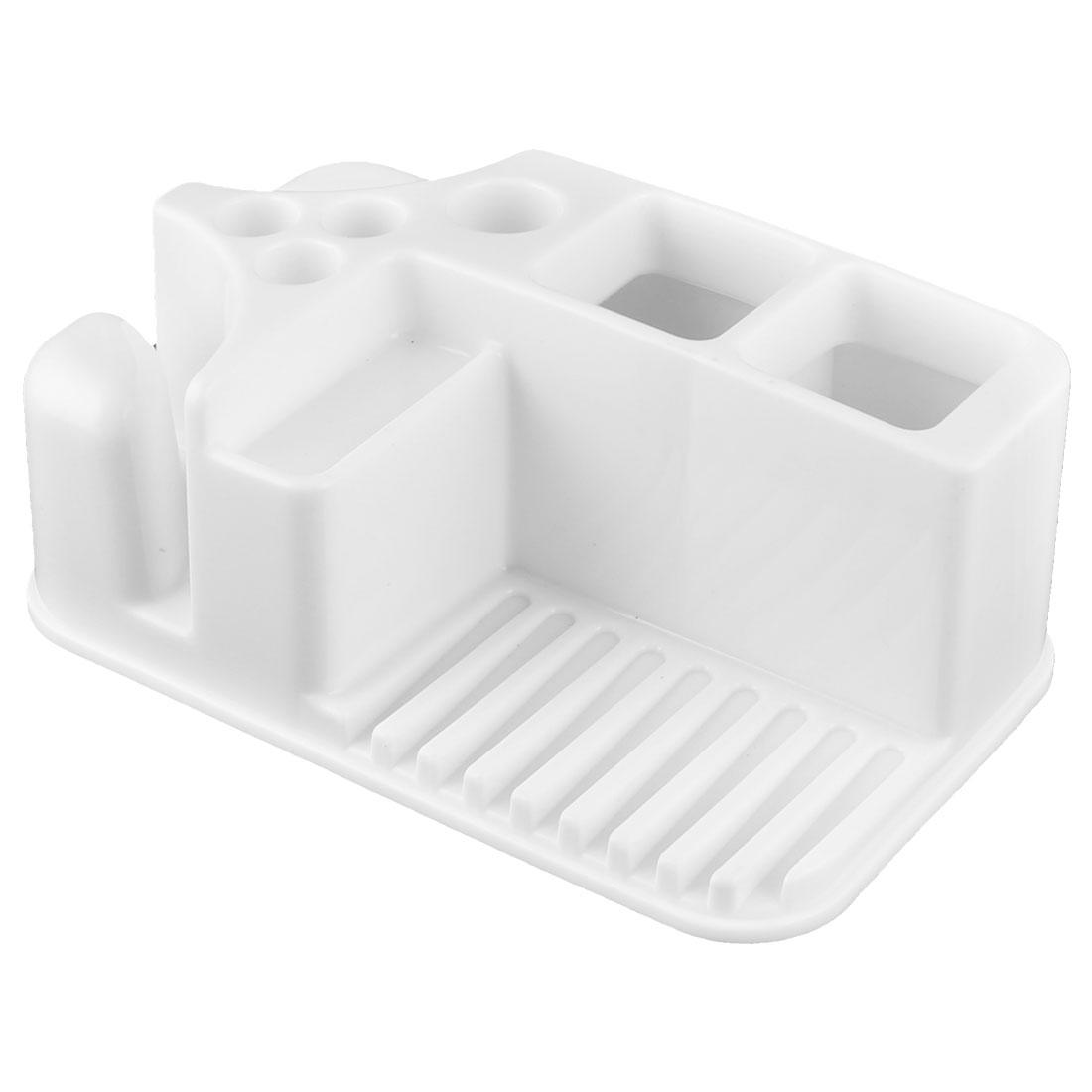 Household Bathroom Plastic Toothbrush Toothpaste Soap Storage Shelves Rack White