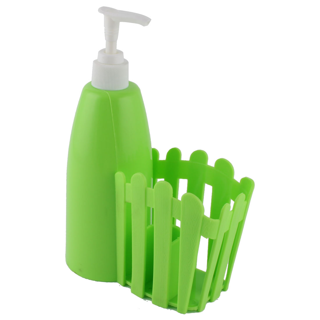 Home Bathroom Plastic Foaming Lotion Press Pump Bottle Dispenser Toothbrush Holder Green