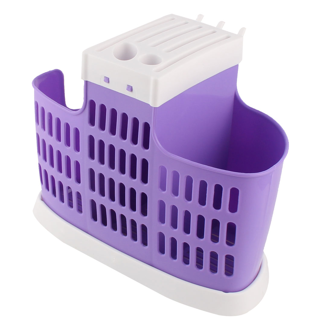 Home Kitchen Plastic Chopsticks Spoon Cutters Hollow Out Basket Case Cage Holder Purple
